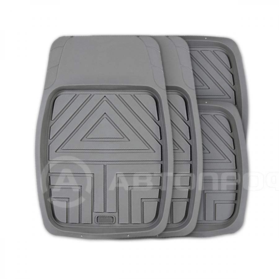 """Коврик """"AUTOPROFI Arrow"""" TER-110 GY ванночки, 100% резина, L, термо, 4 предмета, серый"""